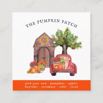 pumpkin patch family farm vintage truck fall square business card