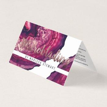 purple agate geode stone rose gold microblading business card