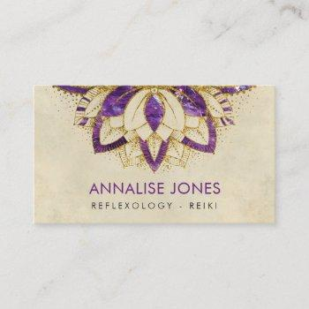 purple amethyst and gold frame lotus business card