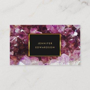 purple amethyst gemstone crystal professional business card