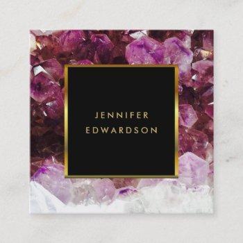 purple amethyst gemstone crystal professional square business card
