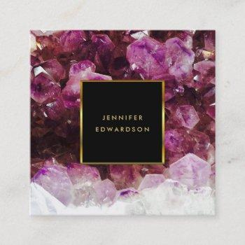 purple amethyst gemstone crystal professional square business card