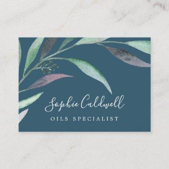 purple and green eucalyptus | blue business card