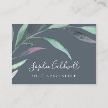 purple and green eucalyptus | gray business card