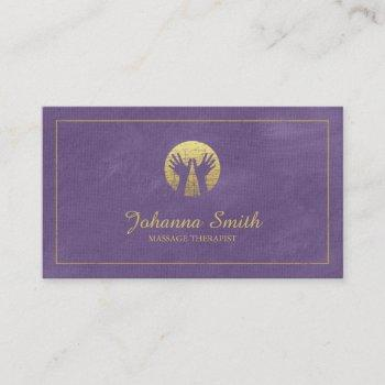 purple canvas golden frame, hands massage therapy appointment card