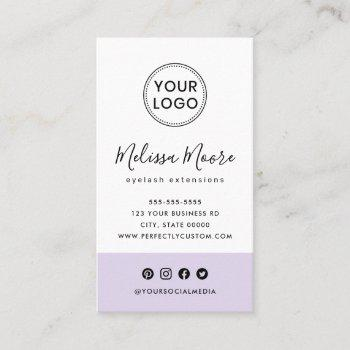 purple feminine custom logo social media business card