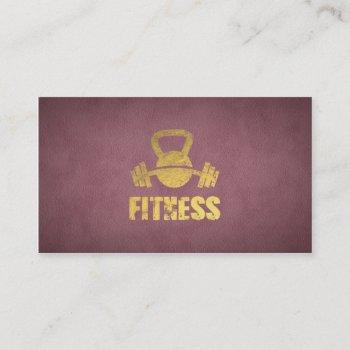 purple fitness personal trainer kettlebell barbell business card