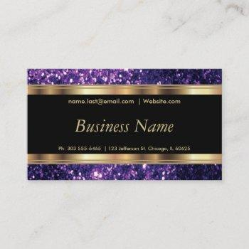 purple glitter and elegant gold business card