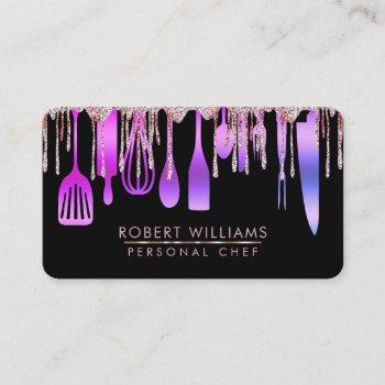 purple gold drip chef kitchen tools glitter faux  business card