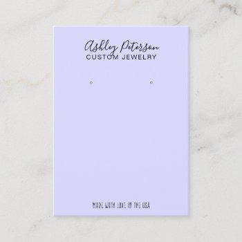 purple minimalist elegant jewelry earring display business card