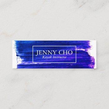 purple paint stripe hand painted mini business card