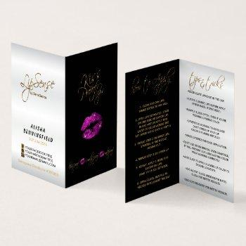 purple pink lips and black instructions - satin business card