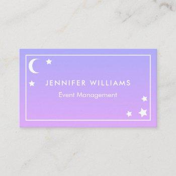 purple pink moon & stars business cards