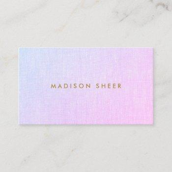 purple pink  ombre faux linen beauty salon business card