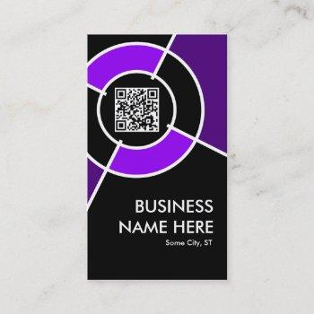 purple qr code and logo target business card