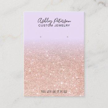 purple rose gold glitter jewelry earring display business card