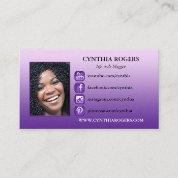 purple social media icons photo business card