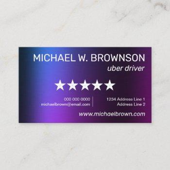 purple uber minimal driver business card
