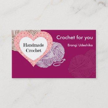 purplebiz card with yarns and heart shaped logo