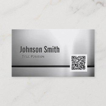 qr code and stainless steel - brushed metal look business card