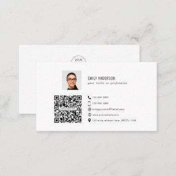 qr code corporate business card with photo & logo