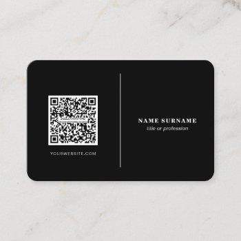 qr code professional minimalist social media black business card