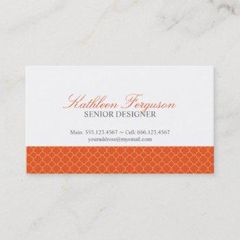 quatrefoil orange yellow clover modern pattern business card