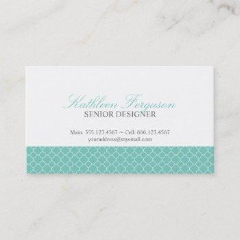 quatrefoil teal blue clover modern pattern business card