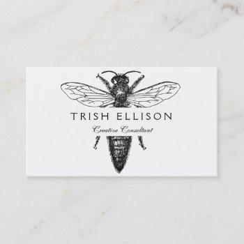 queen bee black and white illustration business card
