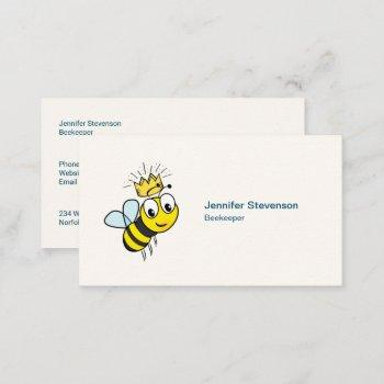 queen bee cute bumble bee with crown business card