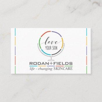 r f love your skin mirror business card