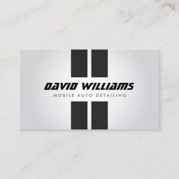 racing stripes gray/black auto detailing, repair business card