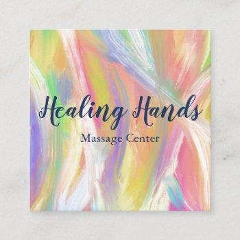 rainbow colorful oil paint square business card