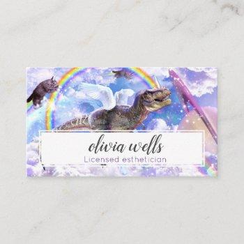 rainbow dinosaur unicorn dinocorn business card