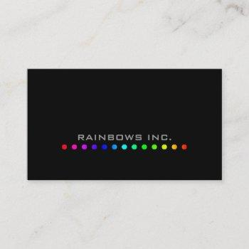 rainbow dots on black business card
