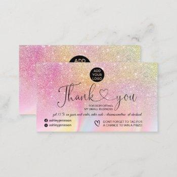 rainbow glitter marble logo order thank you business card