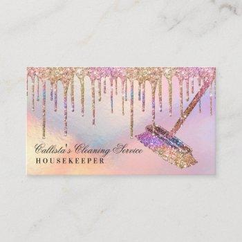 rainbow holographic glitter drips cleaning service business card
