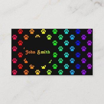rainbow paw print business card