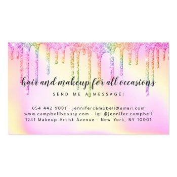Small Rainbow Pink Holographic Glitter Drips Makeup Hair Business Card Back View