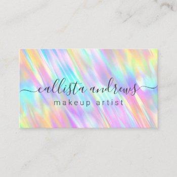 rainbow unicorn holographic makeup artist business card