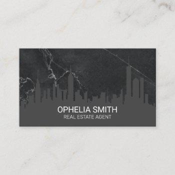 real estate agent cityscape marble business card