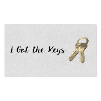 Small Real Estate Agent / Keys Business Card Front View