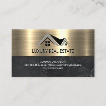 real estate agent | metallic gold marble business card