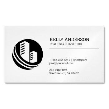 real estate agent | property building icon business card magnet