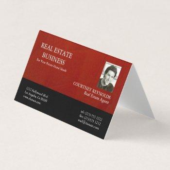 real estate agent red and black business card