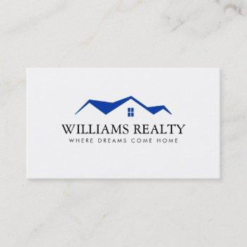 real estate blue house roof logo realtor white business card
