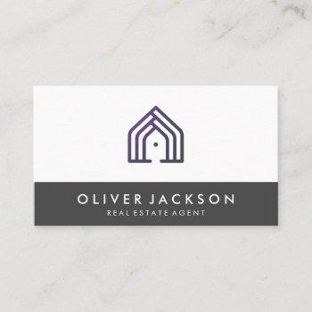 real estate home icon | gray trim business card