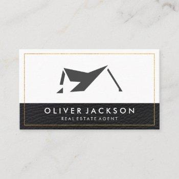 real estate home icon | leather trim gold border business card