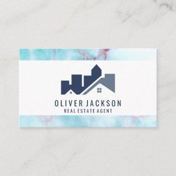 real estate home icon | ocean granite business card