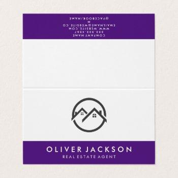 real estate home icon | purple trim business card